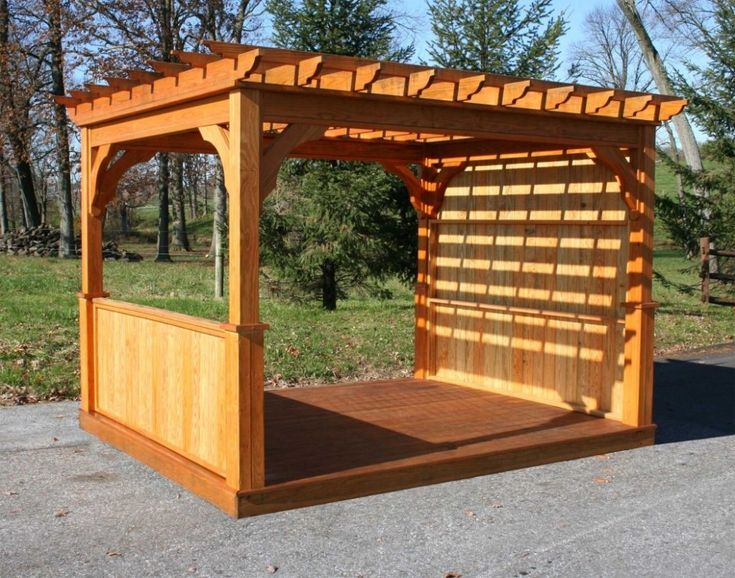Cheap Pergola Kits Most Recommended Design Walnut Varnished Finish Wooden Posts Crossbeams Rafters Battens Fence Arched
