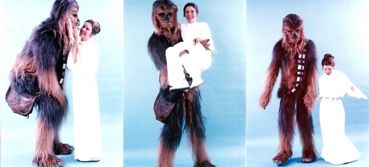 Peter Mayhew and Carrie Fisher.
