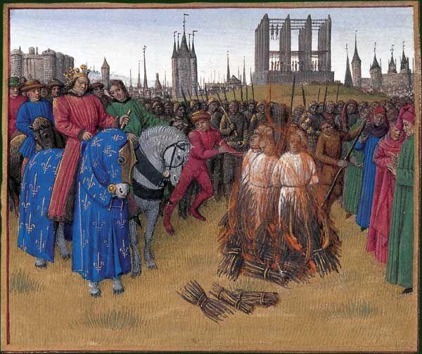 BnF - Grandes chroniques de France, enluminées par Jean Fouquet vers 1455-1460 - Après avoir été jugés au cours d'un concile réuni à Paris en 1210, les disciples d'Amaury de Chartres, livrés à la Justice royale, furent brûlés en dehors de Parsi, au-delà de la porte des Champeaux. A l'arrière plan, se dressent la Bastille, le Temple, le gibet de Montfaucon et le Grand Châtelet.
