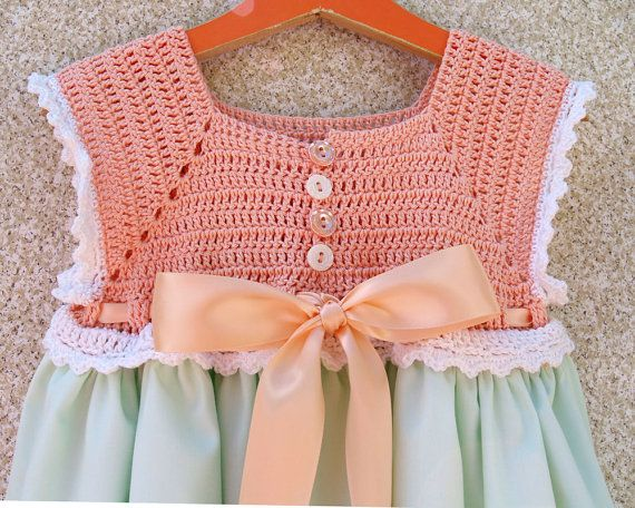 Toddler Flower Girl or Birthday Sundress - Light Peach and Green Crochet Bodice Sundress Size 3T-4T (SUND121)