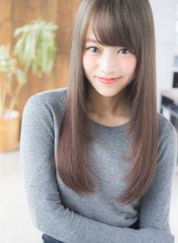 シナモンベーシュな重めロング サラサラ ストレート☆ ハート型顔さん向きヘア♪
