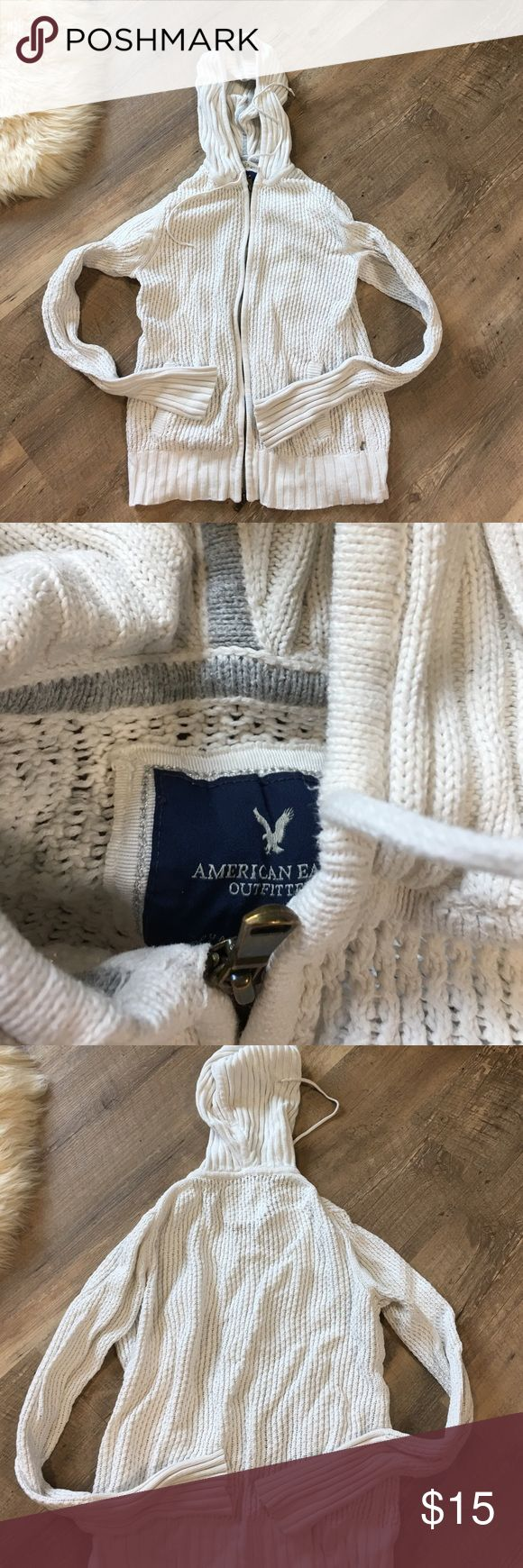 American Eagle White Zip Up Hoodie American Eagle white Zip Up hoodies with goldish cooper zipper American Eagle Outfitters Jackets & Coats