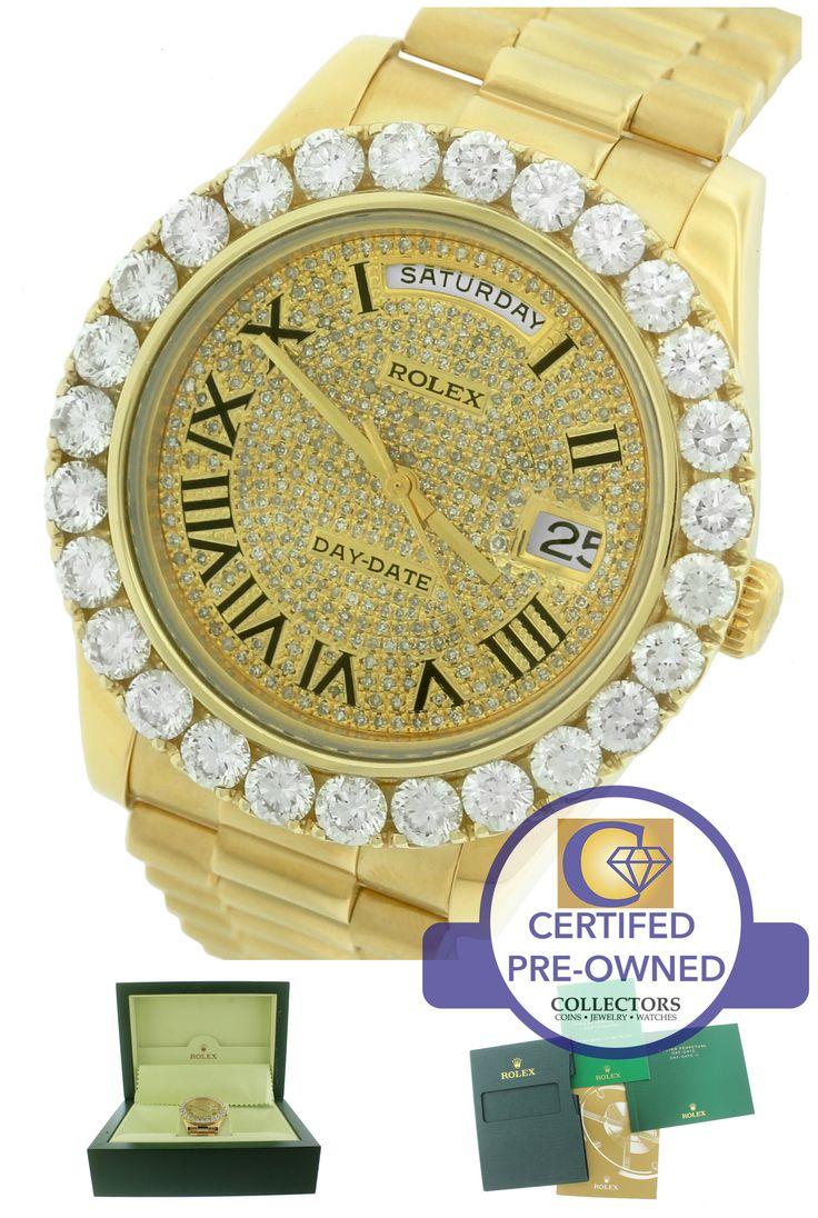 Men's Rolex Day-Date II President 41mm 218238 18K Yellow Gold Diamond Watch