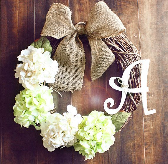 Monogrammed Green & White Hydrangea Grapevine Wreath with a Burlap Bow. via Etsy