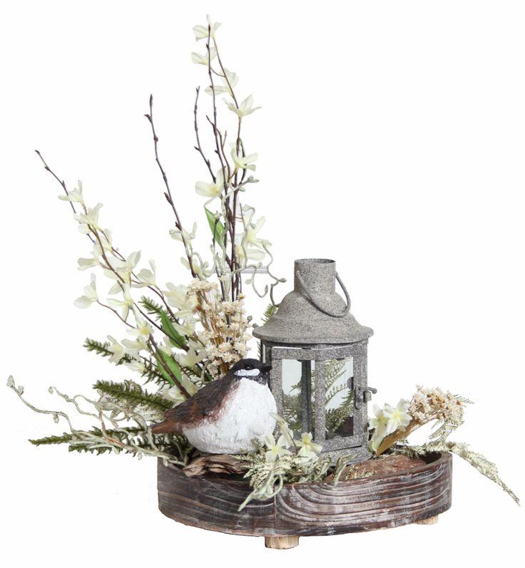 Forsythia Floral Arrangement With Bird Lantern