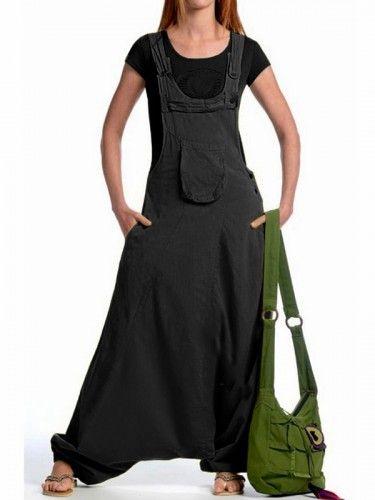 Salopette sarouel coton vetement ethnique femme Népal - Shakti Noir