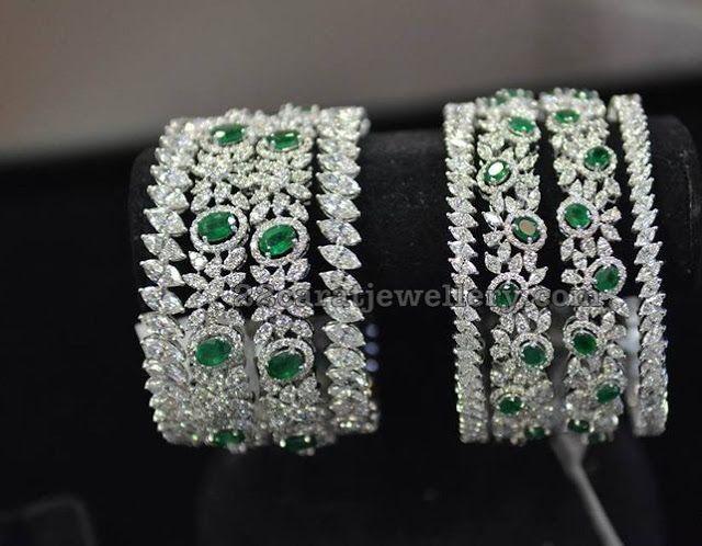 Diamond Emerald Bangles by Hazoorilal