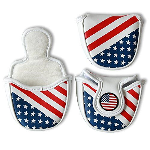 Craftsman Golf USA Flag Star Magnetic White Golf Mallet Putter Cover Headcover for Scotty Cameron Taylormade Odyssey Ping Mallet Club * For more information, visit image link.