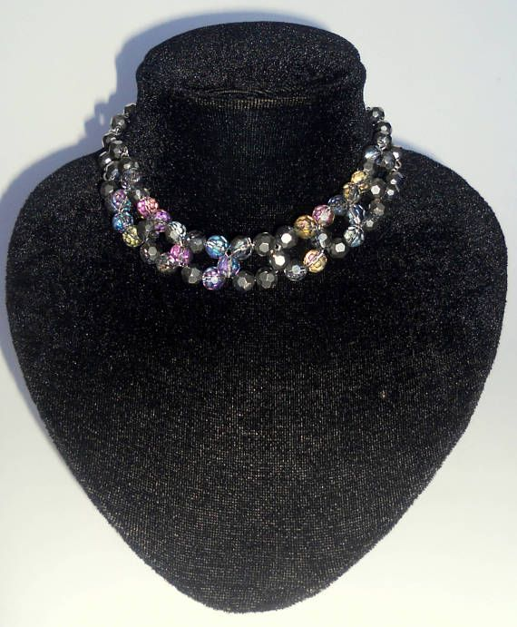 Beaded Jewelry Choker necklaces Rainbow bead choker