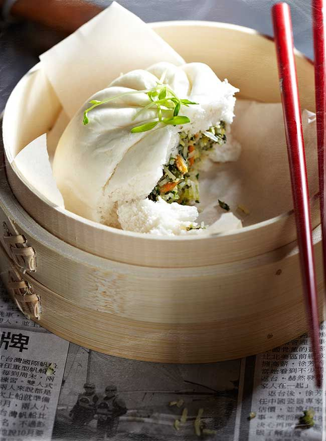 Vegetable Buns.   BBQ pork buns were my favorite dim sum item before I became vegetarian, so this is awesome!