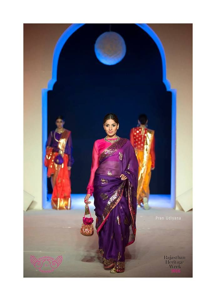 Mharo Des Collection - Rich and colourful is this  purple foil print kota from Vidhi Singhania.