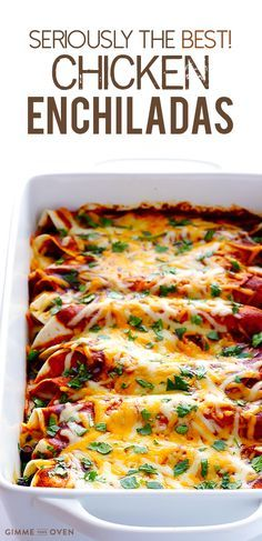 This really is the best chicken enchiladas recipe! Plus it's simple to make, and is made with the most amazing enchilada sauce. | gimmesomeoven.com