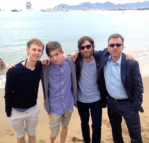The cast of Broken in Cannes - May 2012.  From left: Robert Emms, Bill Milner, a random hobo Cillian Murphy and Tim Roth