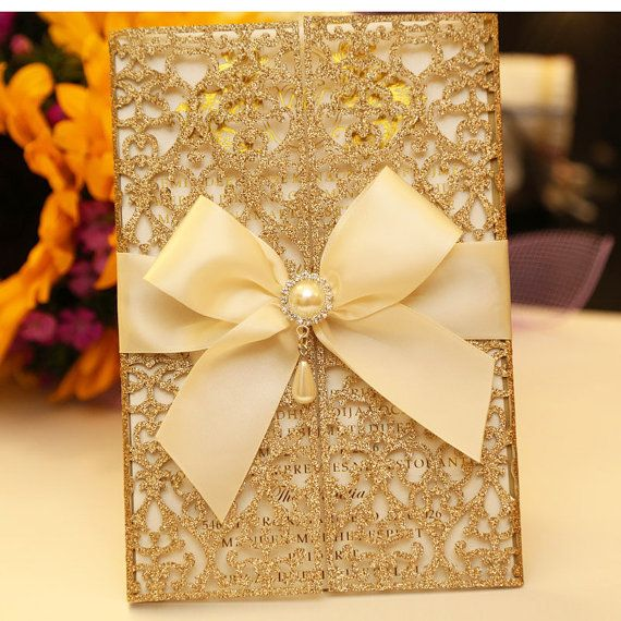 Gold laser cut invitation card/Quinceanera by BoxedWedding on Etsy