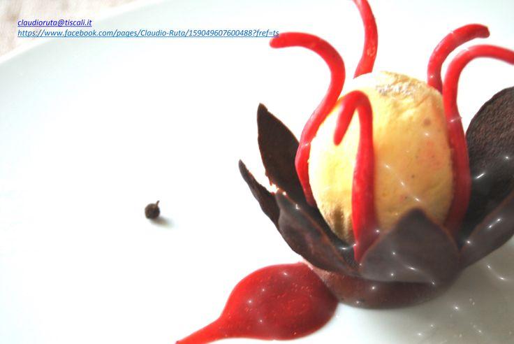 Parfait alla vaniglia con  gelatina all'infuso di Notti d'Oriente