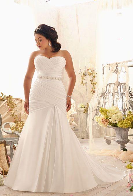 Brides: Mori Lee. Style 3154, asymmetrically draped soft satin with crystal beaded tie sash and corset back, $870, Mori Lee