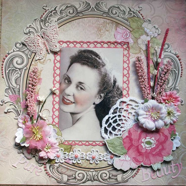 Pure Beauty, 1941 ~ Feminine heritage portrait page with gorgeous punched framing, doily and dimensional flower clusters.
