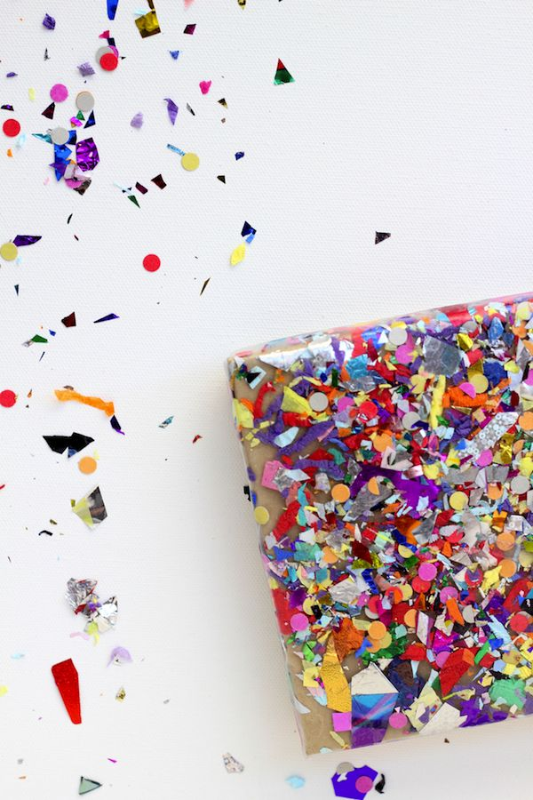 easy confetti decorated package
