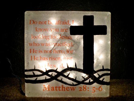 Religious Lighted Glass Block Lamp Christian Cross Decor Crown of Thorns via Etsy
