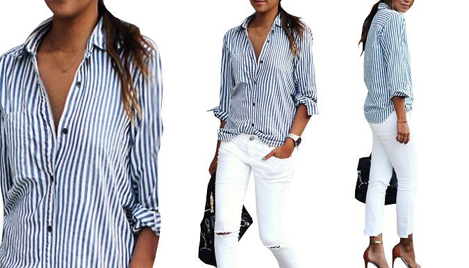 Buy: Pin Striped Blue and White Shirt - 4 Sizes for just: £7.99 Step your workwear with thisPin Striped Blue and White Shirt      Available in 4 sizes: S, M, L, or XL      See Full Details for size guide      Classic navy and white stripes give a nautical chic vibe      Perfect for every day wear and can be dressed up or down      Team with a smart skirt or more casual jeans and flats     ...