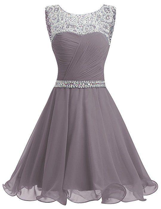 Dresstells® Short Chiffon Open Back Prom Dress With Beading Homecoming Dress Grey Size 6