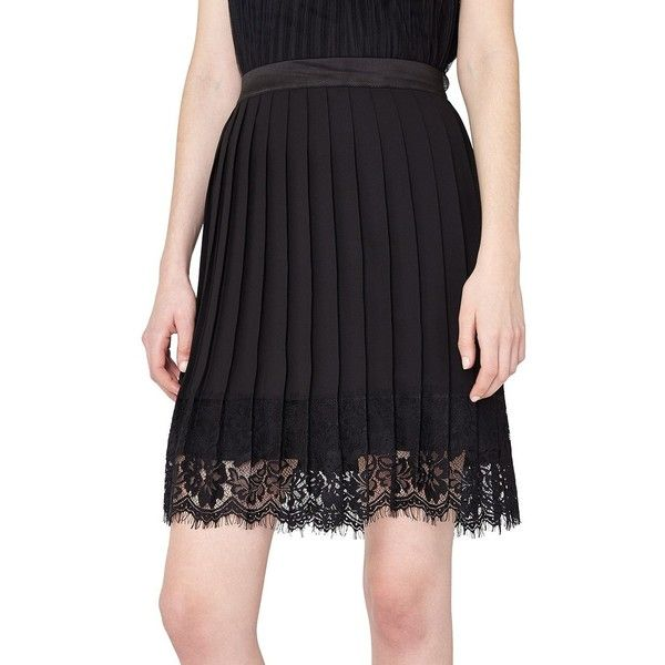 Miss Selfridge Pleated Lace Hem Skirt (£47) ❤ liked on Polyvore featuring skirts, black, lacy skirt, scalloped skirt, scalloped lace skirt, scallop edge skirt and pleated lace skirt
