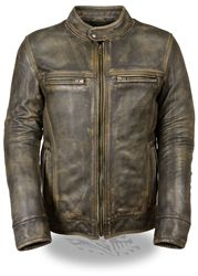 distressed brown leather motorcycle jacket for men, scooter style