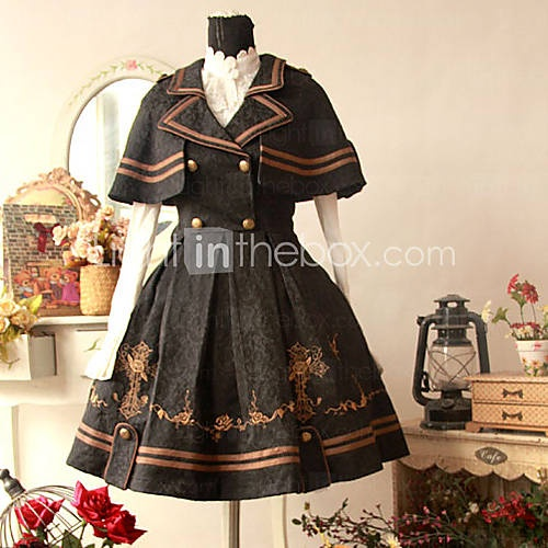 Cool Sleeveless Knee-length Double-Breasted Uniform Cloth Sailor Lolita Dress