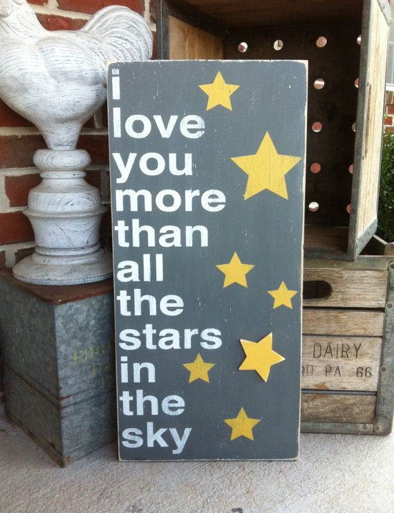 I Love You More Than All The Stars In The Sky Typography Word Art. $105.00, via Etsy.
