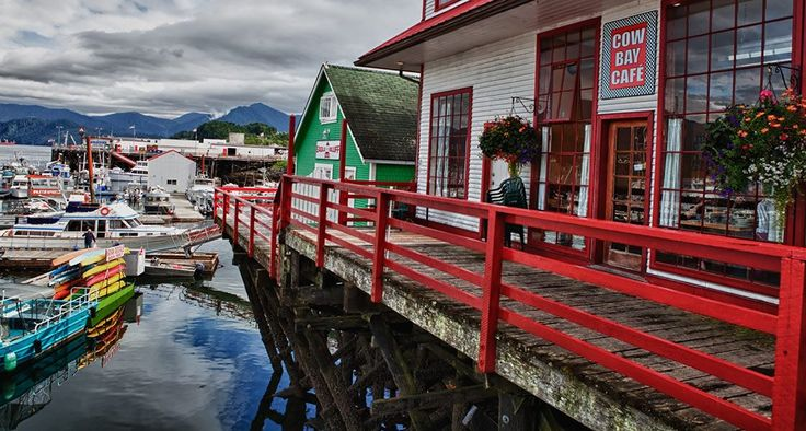 We love Prince Rupert's cute + colorful waterfront district, Cow Bay. Photo by Lonnie Wishart. #explorebc