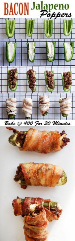 Bacon jalapeno poppers stuffed with cream cheese and ground beef!