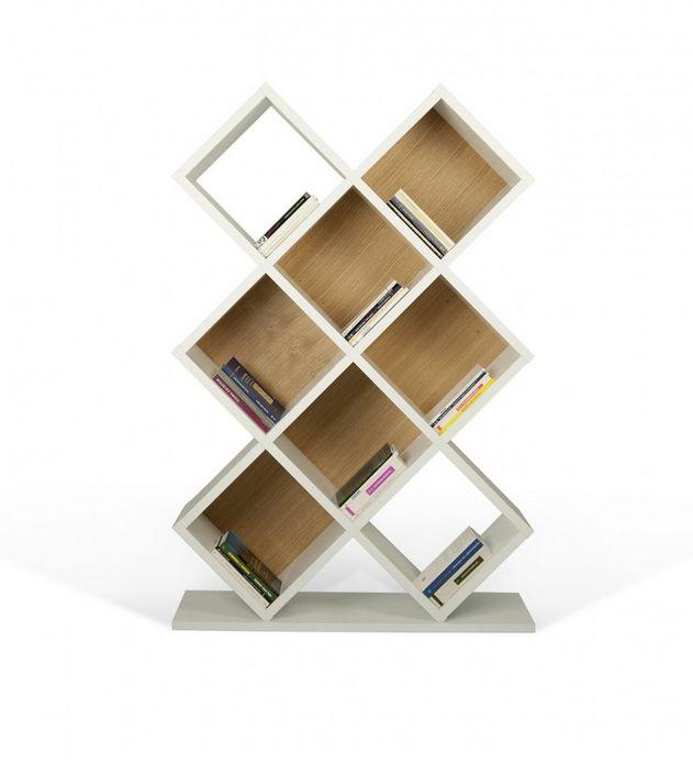 ESTANTERIA CUBIC 2 Medidas: 160 x 38 x 110 cm   Estructura de MDF y chapa de melamina.   Colores disponibles: BLANCO - ROBLE O NOGAL