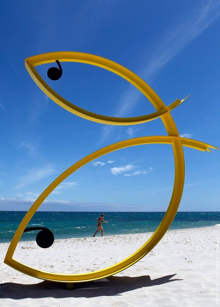"""""""Ocean fandango"""" by Andrew Kay of Western Australia was displayed on the first day of the annual Sculpture by the Sea, Cottesloe outdoor art exhibition at Cottesloe Beach on March 4, 2010 in Perth, Australia. The event attracts around 110,000 visitors each year. (Photo by Paul Kane/Getty Images)"""