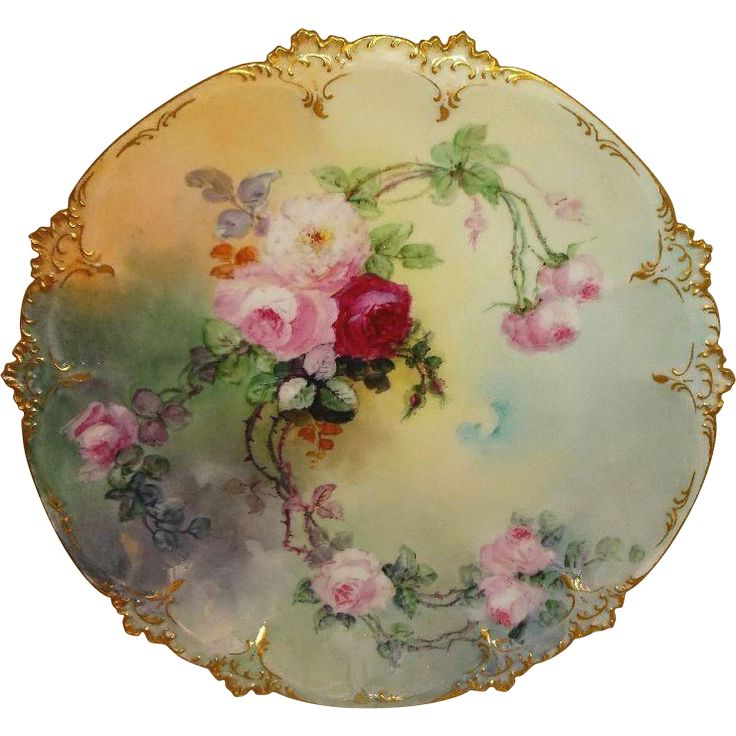 Antique Limoges French Charger Plate Hand Painted Pink Roses Artist from onlyfinelines on Ruby Lane