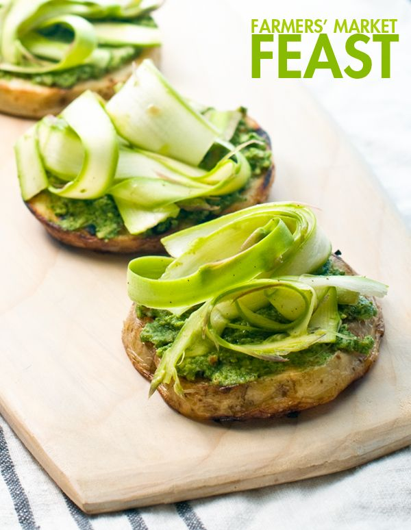Grilled Potato Rounds with Pesto and Shaved Asparagus. Recipe & photo ...
