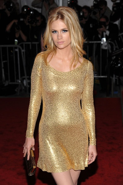 January Jones - gold dress