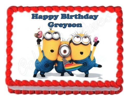 DESPICABLE ME MINIONS party edible cake image cake topper frosting sheet birthday @ niftywarehouse.com #NiftyWarehouse #DespicableMe #Movie #Minions #Movies #Minion #Animated #Kids