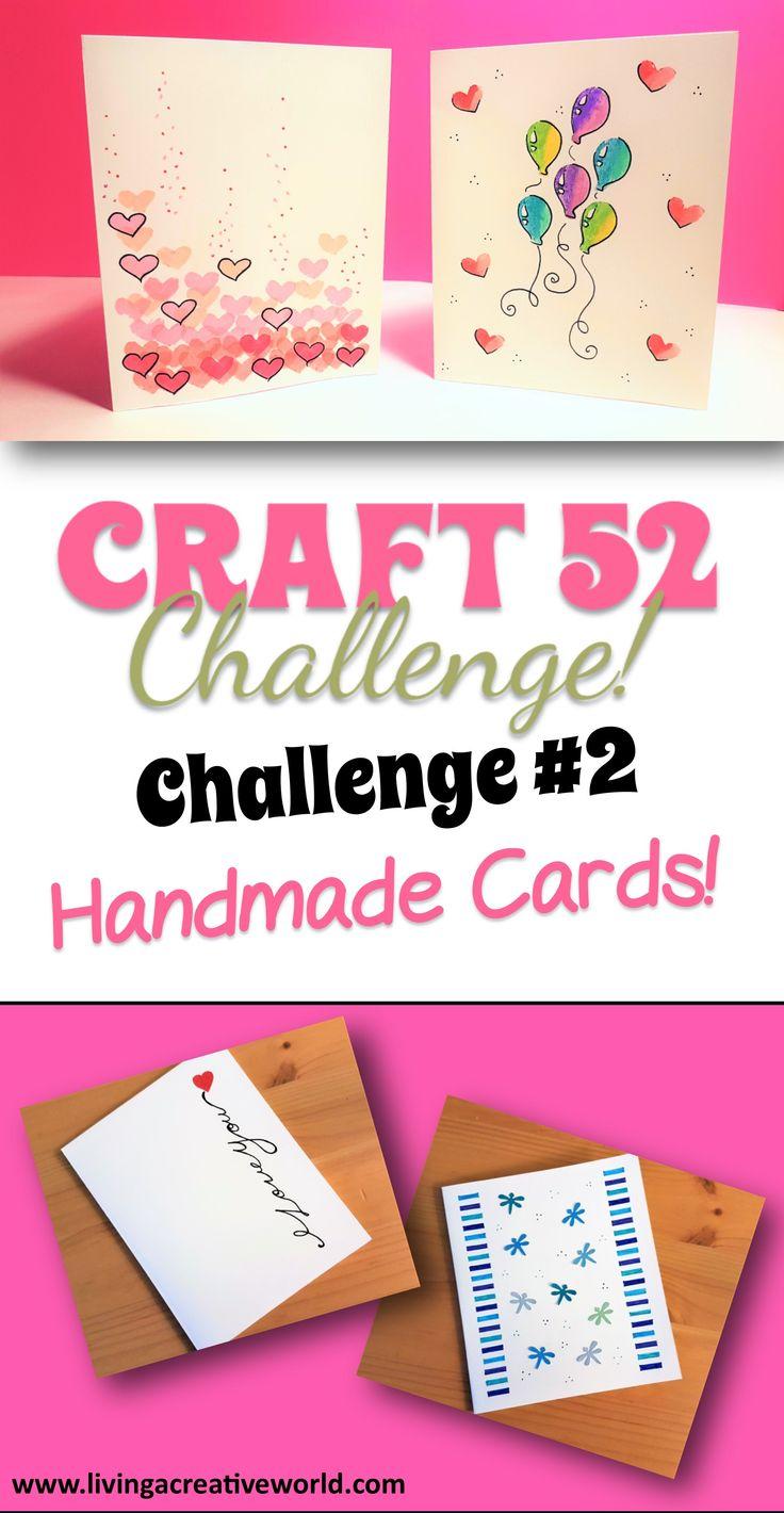 Week #2 of the Craft 52 Challenge - Simple Handmade Cards! #handmadecards #homemadecards #simplediycards #diycards #craft52challenge