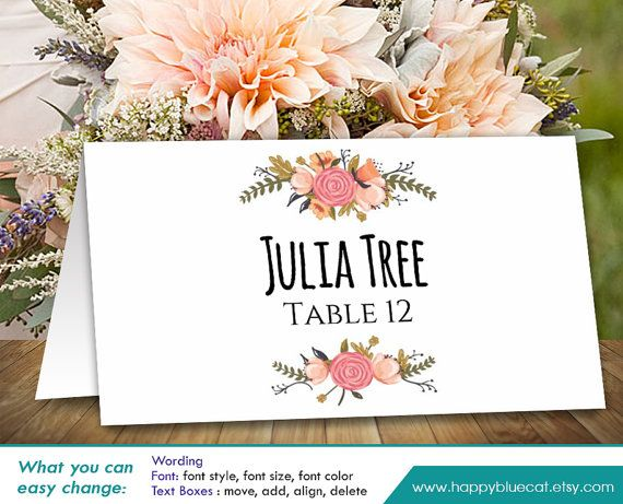 DiY Printable Wedding Place Card Template  Instant by HappyBlueCat
