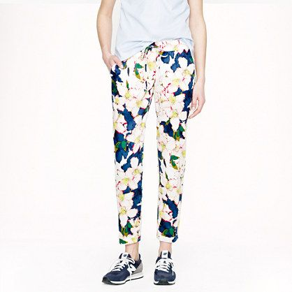 Drawstring pant in cove floral - pants - Women's new arrivals - J.Crew
