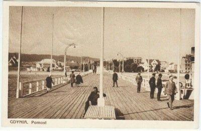 """Gdynia. Pomost Wyd. """" FOTOBROM """" Masowa Wytwòrnia Fotografij i Pocztòwek, Gdynia Kartka wysłana 26.06.1929"""