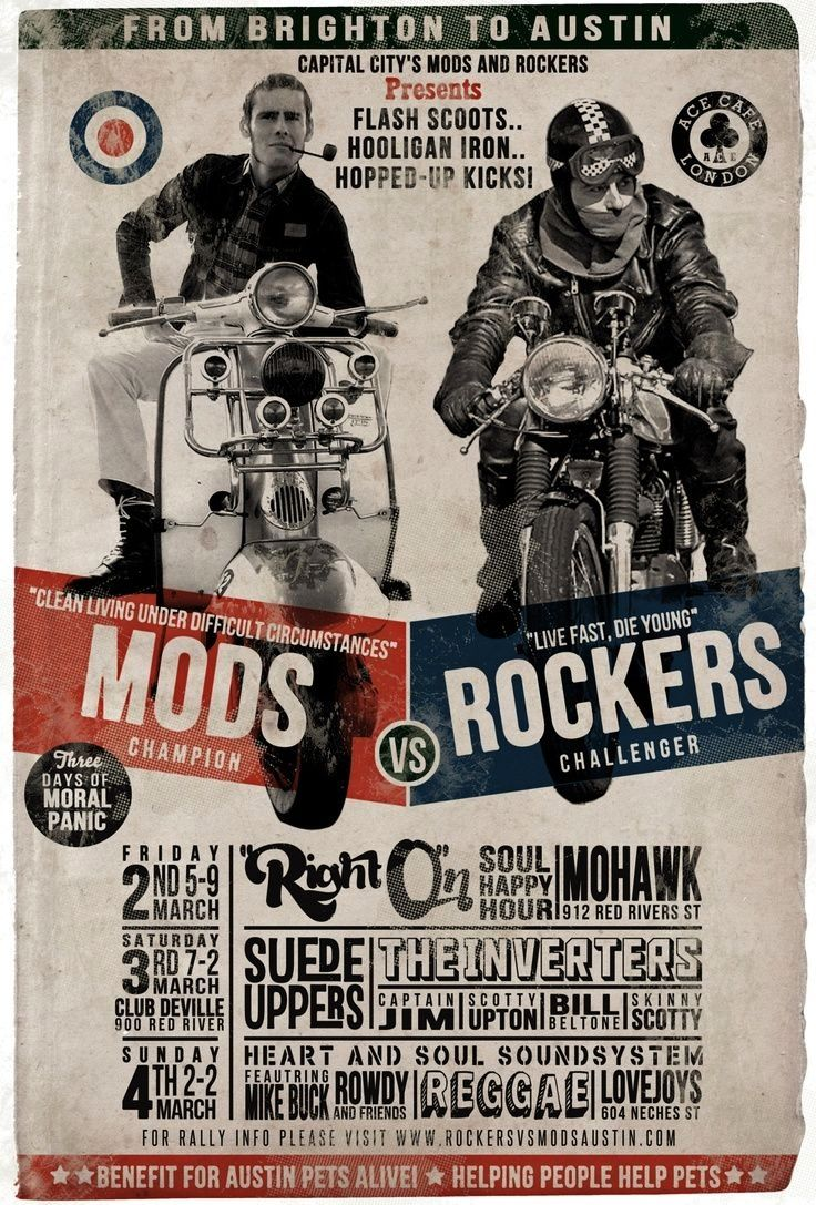 Mods Vs Rockers Rocker Vespa Motorcycle Posters