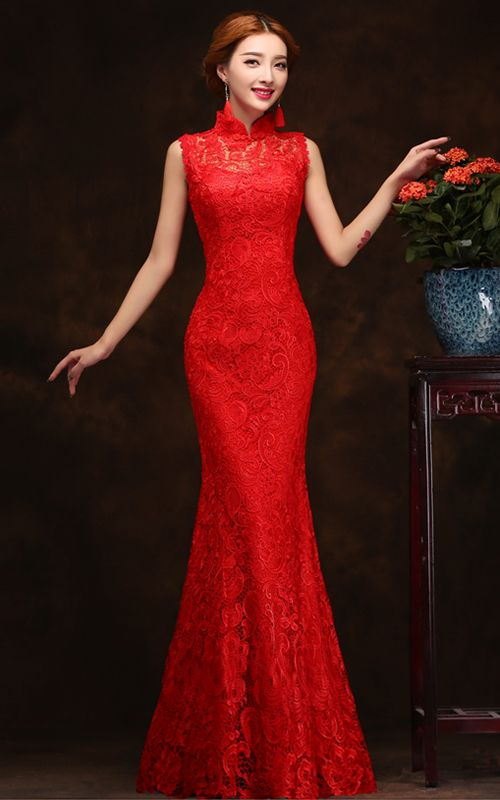 Sleeveless mandarin collar mermaid dress red lace Chinese wedding qipao 006
