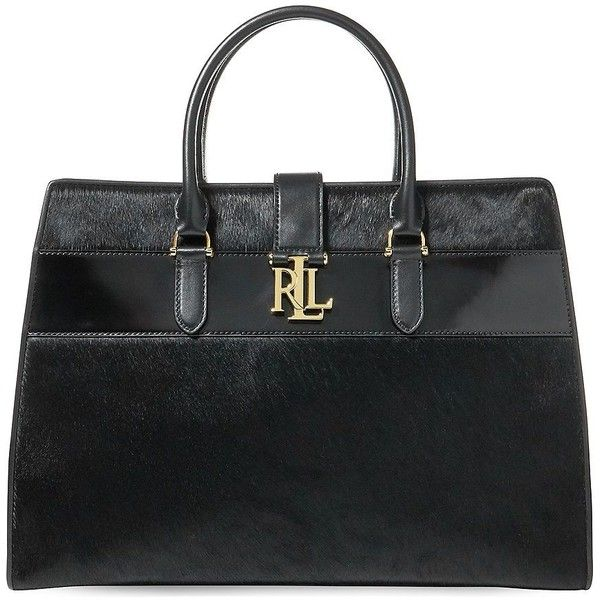 Lauren Ralph Lauren Brigitte Leather and Calf Hair Satchel ($448) ❤ liked on Polyvore featuring bags, handbags, black, real leather handbags, leather handbags, leather satchel purse, satchel handbags and top handle satchel handbags