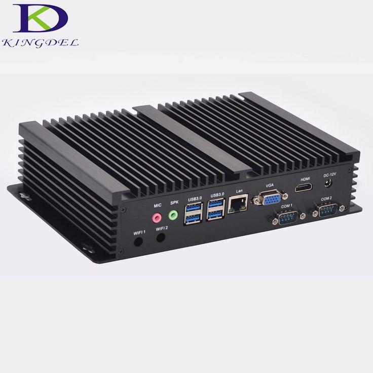 Windows 10 cheap fanless mini industrial pc 16G RAM 256G SSD 1TB HDD Intel i5 4200u CPU 2 COM Ports Desktop Computer
