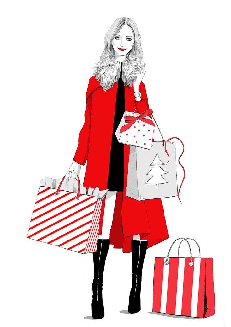 Merry Christmas shopping fashion illustration by illustrator Kelly Thompson for Four Seasons recruitment London www.kellythompsoncreative.com