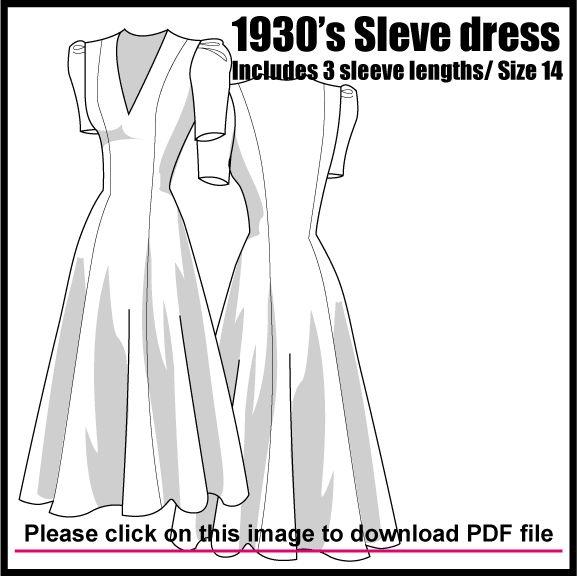 Free Pattern : 1930′s LONGLINE DRESS WITH COLLAR DETAIL - from: http://www.ralphpink.com/pattern-cutting/womenswear/dresses