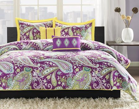 Purple Green Yellow Paisley Print Teen Girl Bedding Twin
