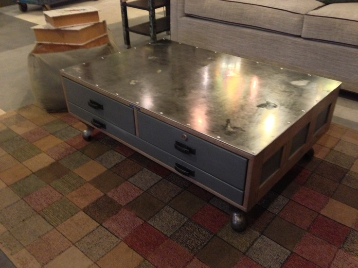 Industrial Coffee Table Made From Vintage Flat File Cabinet Repurposed With Metal Riveted Top