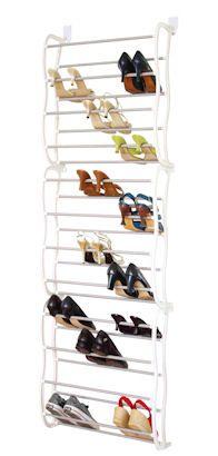 Premier Housewares 12 Tier Over Door Shoe Rack {White/Grey}